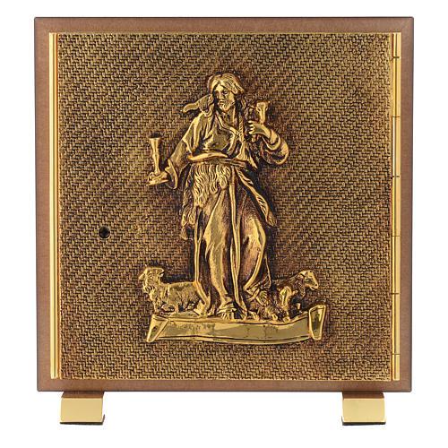 Tabernacle bois imitation ronce moulage laiton Bon Pasteur 1