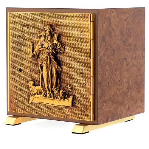 Tabernacle bois imitation ronce moulage laiton Bon Pasteur 2