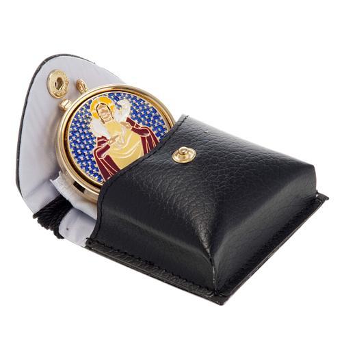 Portateca con teca smaltata Buon Pastore, lino e croce 1