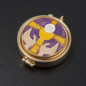 Pyx with enamel on the cover and leather burse s5
