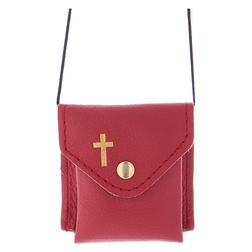 Pyx holder case in real leather, 6.5x6.5 cm, red 1