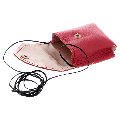 Pyx holder case in real leather, 6.5x6.5 cm, red 3