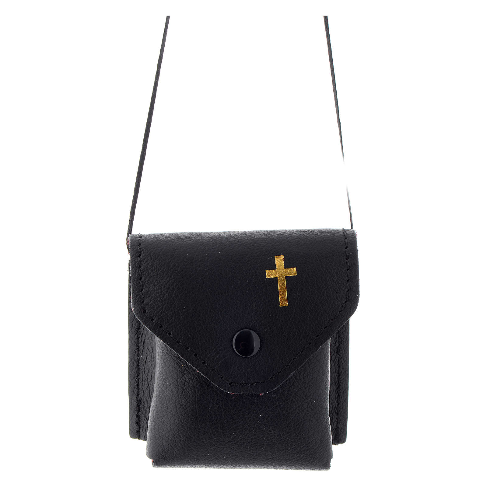 Pyx holder case in real leather, 7x7.5 cm, black 3