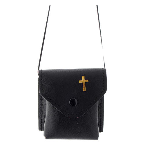 Pyx holder case in real leather, 7x7.5 cm, black 1