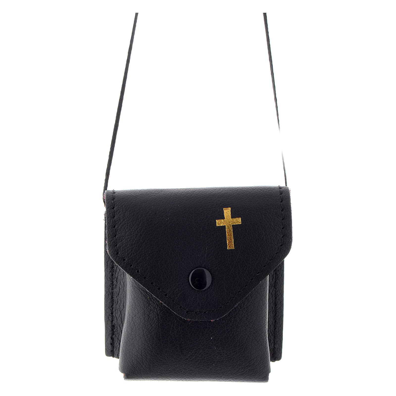 Étui à custode noir 7x7,5 cm vrai cuir 3