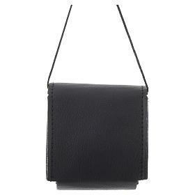 Portateca nero 7x7,5 cm vera pelle s2