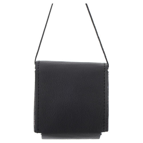 Portateca nero 7x7,5 cm vera pelle 2