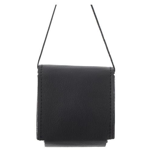 Pyx holder case in real leather, 7x7.5 cm, black 2