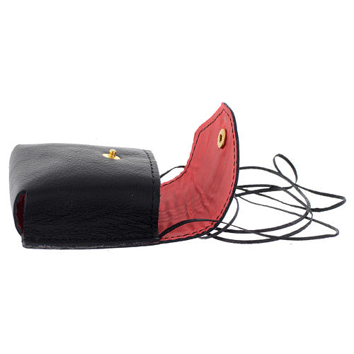 Pyx holder case in real leather, 7x7.5 cm, black 3