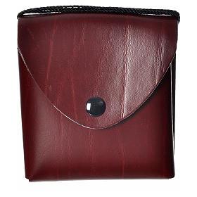 Pyxes and Burses: Pyx case in leather, 10 cm, burgundy