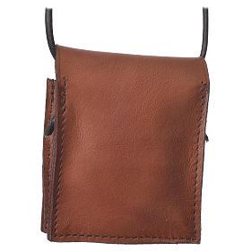 Portateca marrone vera pelle Bethléem per teche 5,5 cm s2