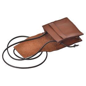 Portateca marrone vera pelle Bethléem per teche 5,5 cm s3
