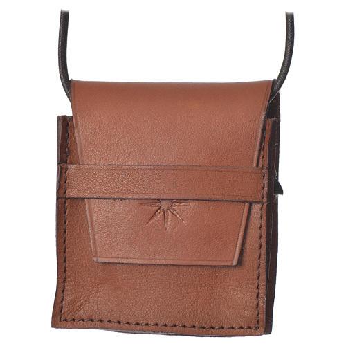 Portateca marrone vera pelle Bethléem per teche 5,5 cm 1