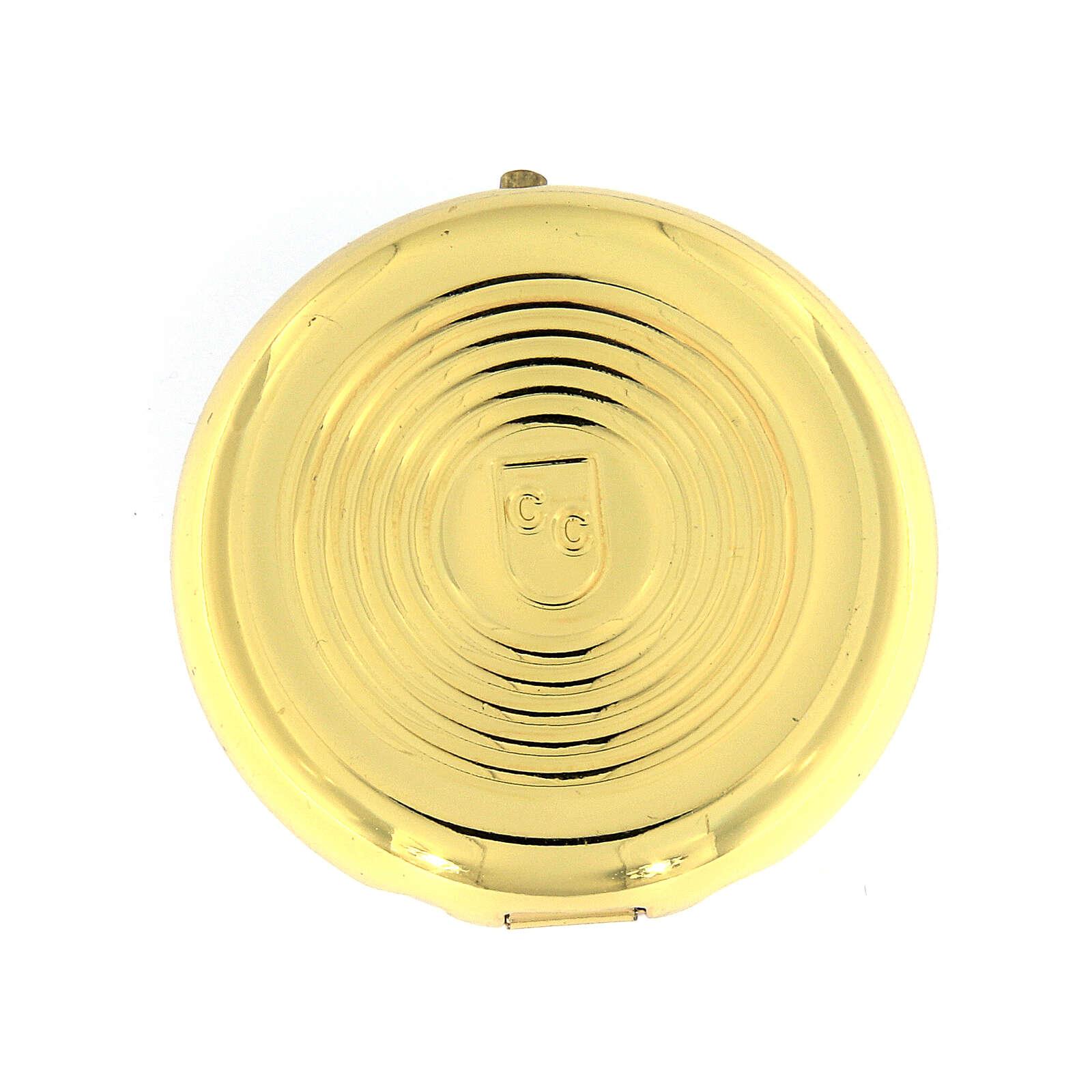 Caixa de hóstias IHS metal placa alumínio detalhes ouro 5 cm 3