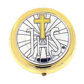 Caixa de hóstias IHS metal placa alumínio detalhes ouro 5 cm s1