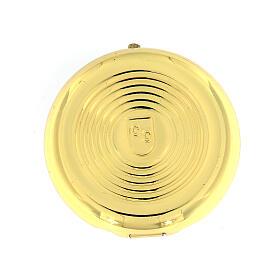 Caixa de hóstias IHS metal placa alumínio detalhes ouro 5 cm s3