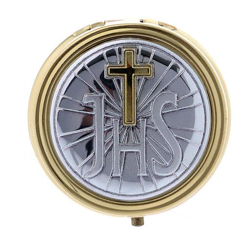 Caixa de hóstias IHS metal placa alumínio detalhes ouro 5 cm 1