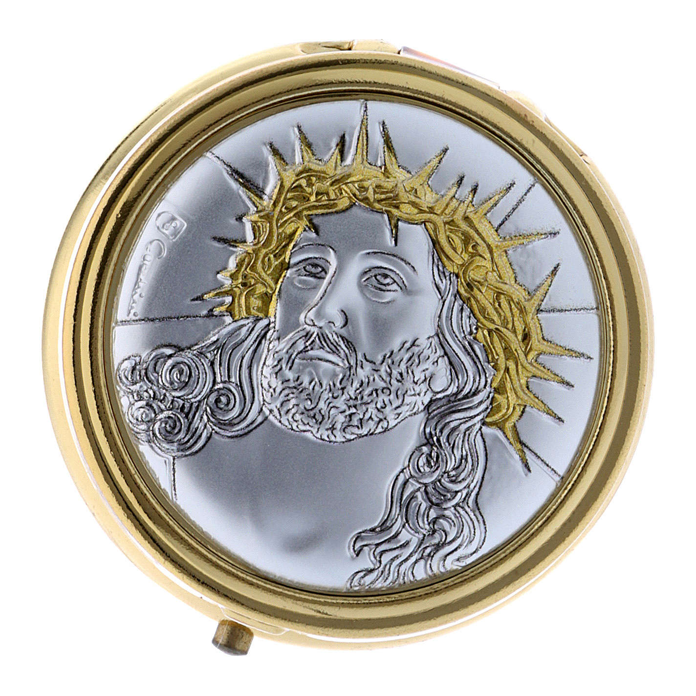 Host box Ecce Homo in metal with aluminum plate finished in gold 5 cm 3