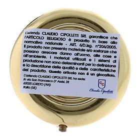 Teca para hostias Ecce Homo metal plancha aluminio detalles oro 5 cm s3