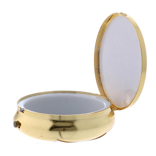 Teca para hostias Ecce Homo metal plancha aluminio detalles oro 5 cm 2