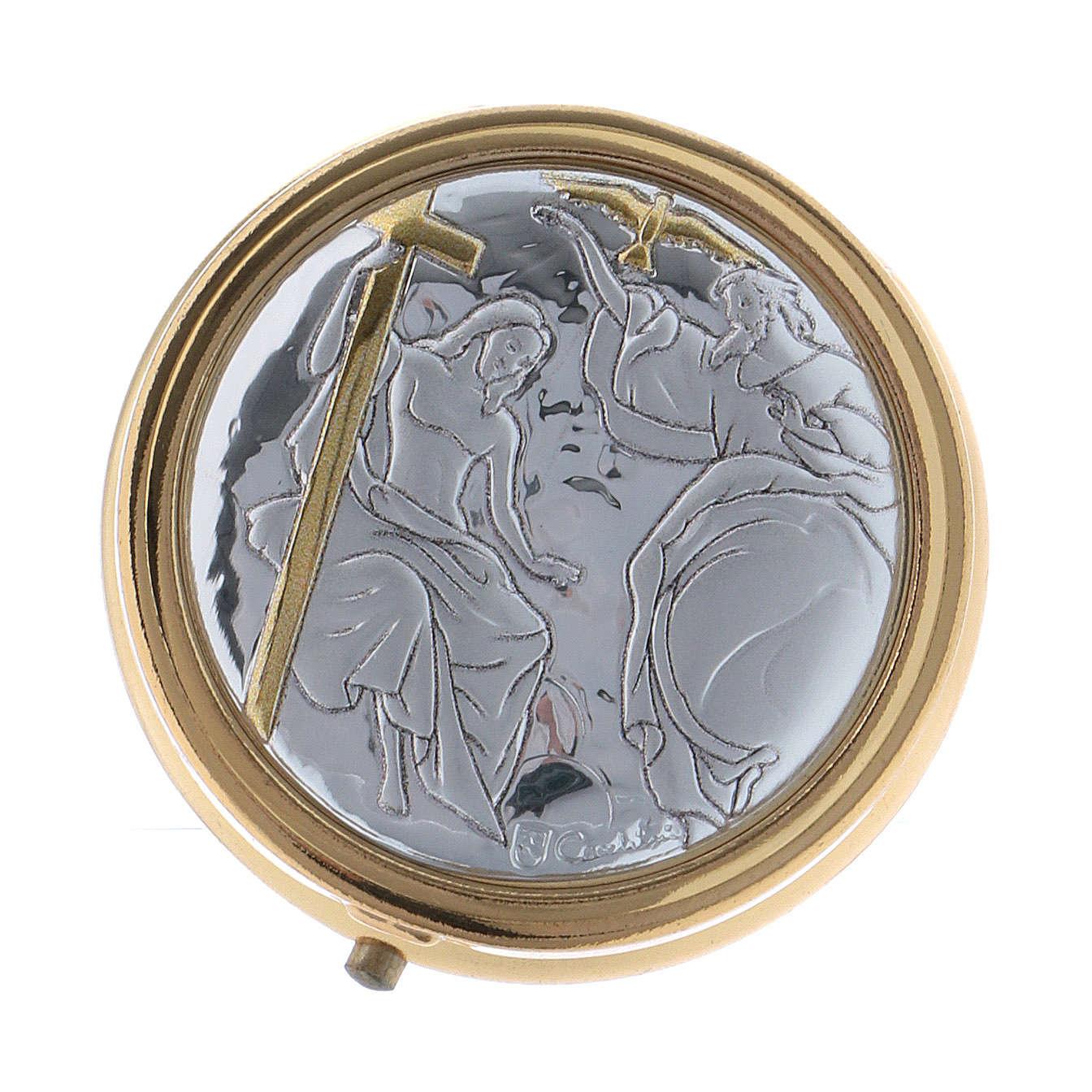 Trinity host box in metal with aluminium plate 5 cm 3
