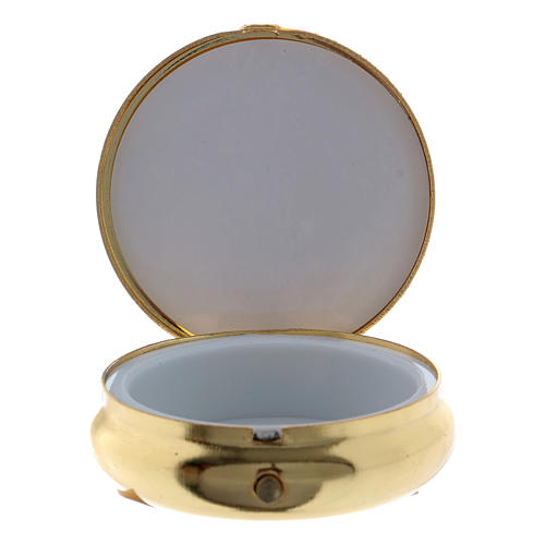 Custode hosties en métal Notre-Dame de Lourdes plaque aluminium 5 cm 2