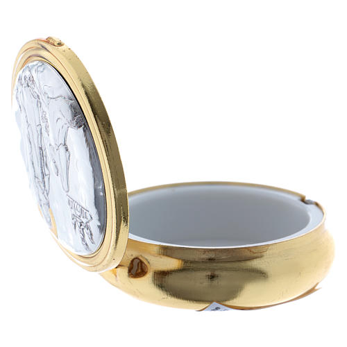 Portaostia in metallo Madonna di Lourdes placca alluminio 5 cm 3