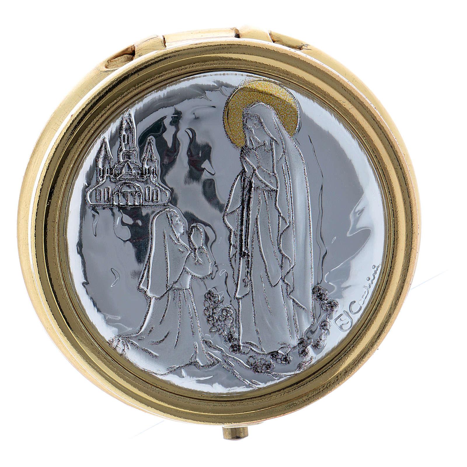 Caixa de hóstias em metal Nossa Senhora de Lourdes placa alumínio 5 cm 3