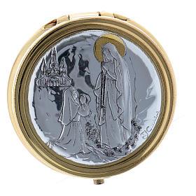 Caixa de hóstias em metal Nossa Senhora de Lourdes placa alumínio 5 cm s1