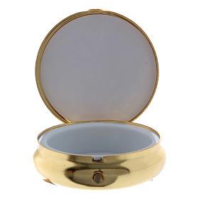 Caixa de hóstias em metal Nossa Senhora de Lourdes placa alumínio 5 cm s2