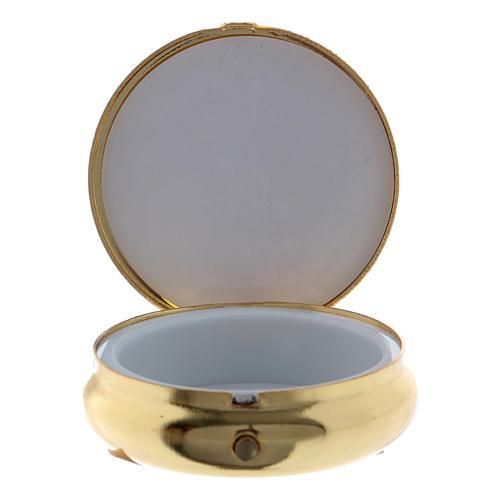 Caixa de hóstias em metal Nossa Senhora de Lourdes placa alumínio 5 cm 2