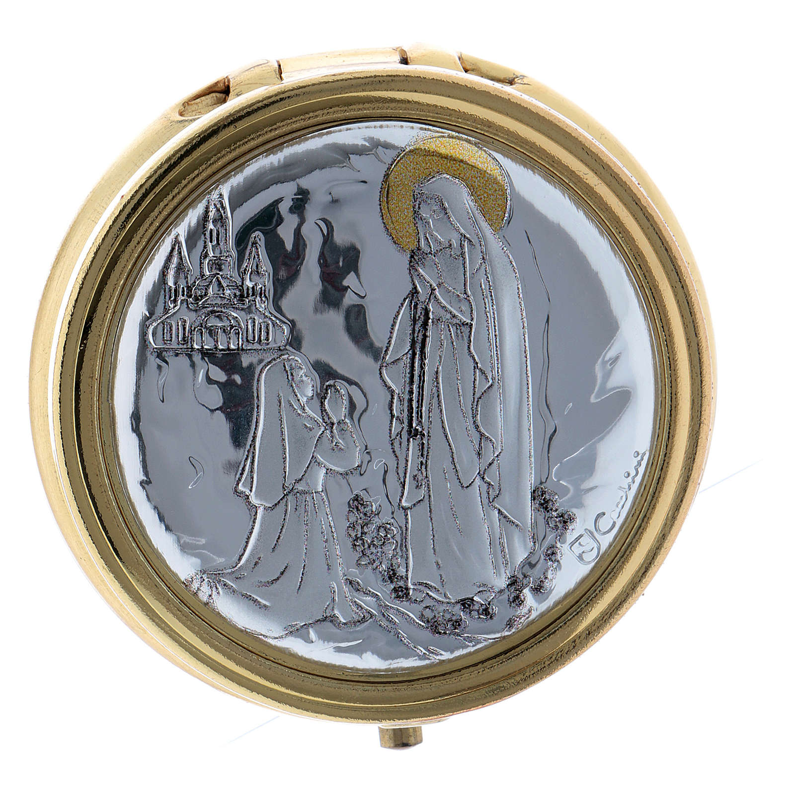 Our Lady of Lourdes host box in metal with aluminium plate 5 cm 3
