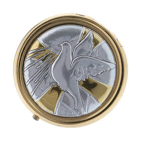 Teche Eucaristiche: Portaostia Colomba S.S. in metallo placca alluminio 5 cm