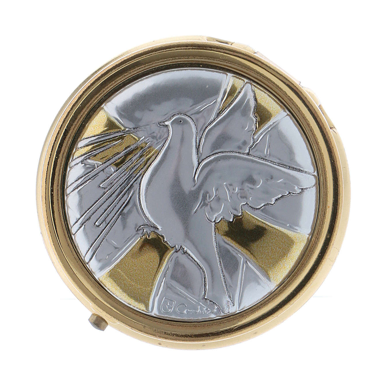 Holy Spirit Dove host box in metal with aluminium plate 5 cm 3