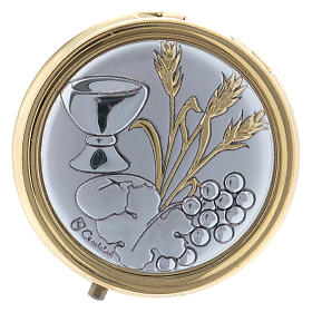 Wheat ear, chalice and grapes host box in metal with aluminium plate 5 cm s1