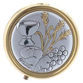 Portaostia spiga, grano calice e uva in metallo placca alluminio 5 cm s1