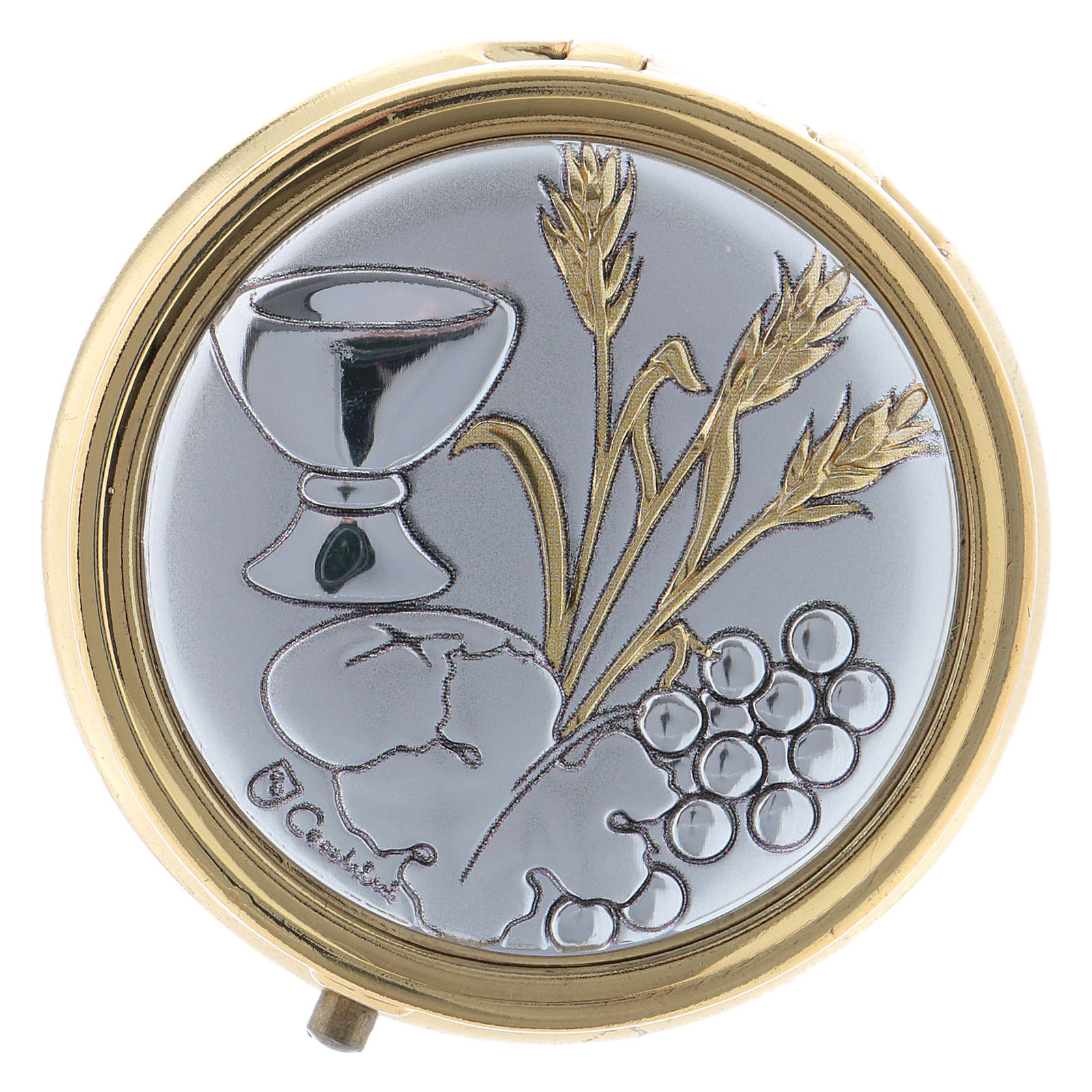Wheat ear, chalice and grapes host box in metal with aluminium plate 5 cm 3