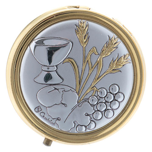 Wheat ear, chalice and grapes host box in metal with aluminium plate 5 cm 1