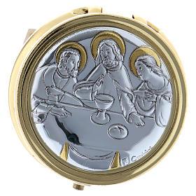 Teche Eucaristiche: Portaostia Ultima Cena in metallo placca alluminio 5 cm