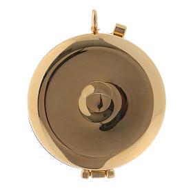 Custode à hosties métal bois d'olivier gravé Agneau diam. 5,5 cm s3