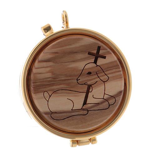 Custode à hosties métal bois d'olivier gravé Agneau diam. 5,5 cm 1