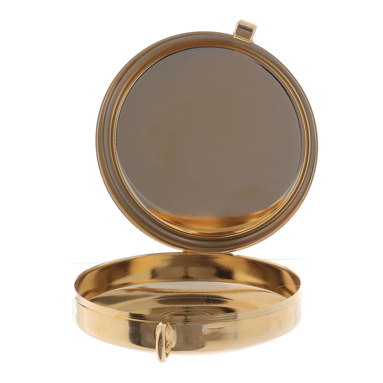 Teca porta Ostie metallo olivo inciso Calice diam. 5,5 cm 3
