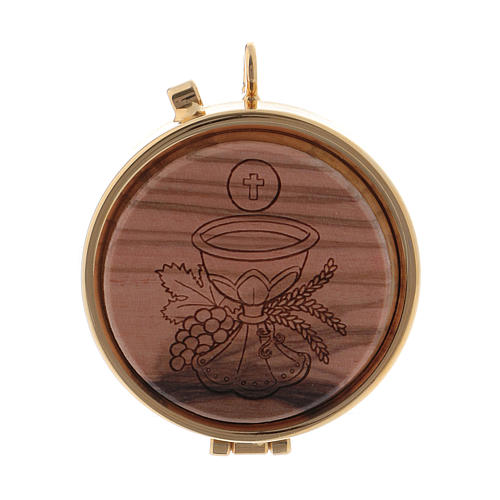Teca porta Ostie metallo olivo inciso Calice diam. 5,5 cm 1