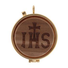 Teca porta Ostie metallo legno olivo inciso JHS diam. 5,5 cm s1