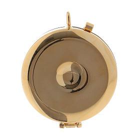 Teca porta Ostie metallo legno olivo inciso JHS diam. 5,5 cm s3