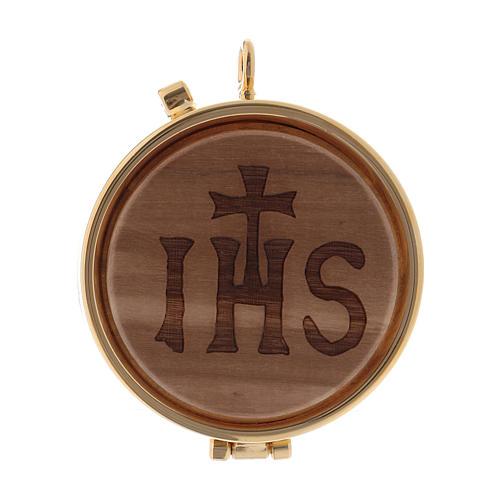 Teca porta Ostie metallo legno olivo inciso JHS diam. 5,5 cm 1