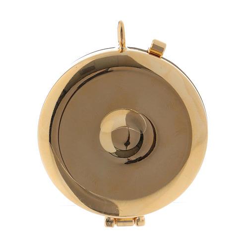 Teca porta Ostie metallo legno olivo inciso JHS diam. 5,5 cm 3
