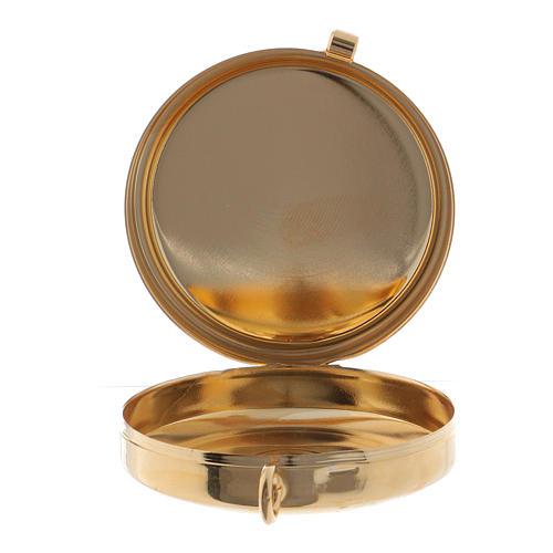 Teca porta Ostie metallo olivo inciso Mani Giunte diam. 5,5 cm 2