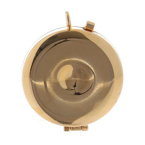 Teca porta Ostie metallo olivo inciso Mani Giunte diam. 5,5 cm 3