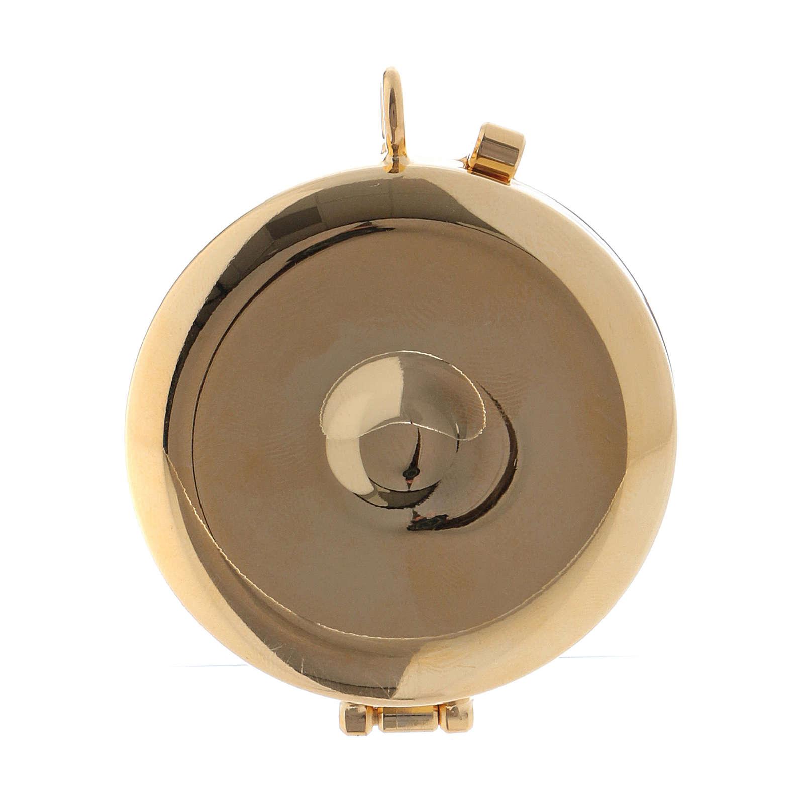 Teca porta Ostie Cristo Pantocratore metallo disco ulivo inciso diam. 5,5 cm 3